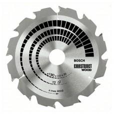 BOSCH ConstructWood zāģa disks 190x2,6 mm T12